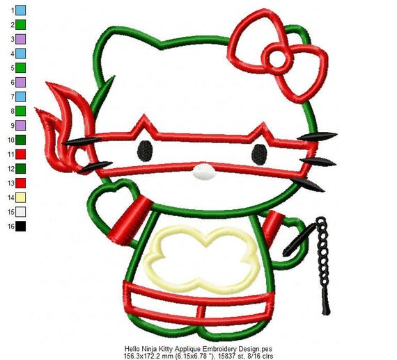Hello ninja kitty applique embroidery design instant