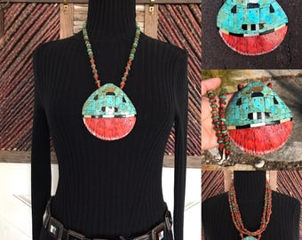 Native American Jewelry, Red Coral, Spiny Oyster, Turquoise Necklace, Old Pawn, Western Jewelry, Southwest Jewelry, Santo Domingo Necklace