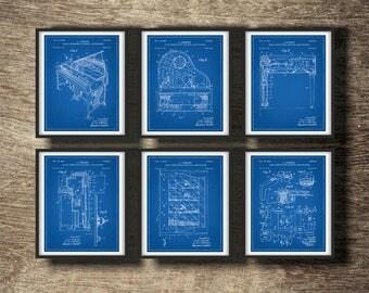Piano Blueprint Set of 6 Prints | Piano Wall Decor | Piano Decor | Piano Blueprint | Piano Wall Art | Piano Blueprint Set INSTANT DOWNLOAD