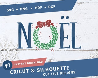 Noel SVG Christmas svg Wreath SVG dxf Cricut Silhouette cut file clipart Joyeus noel happy holidays Quote pdf png