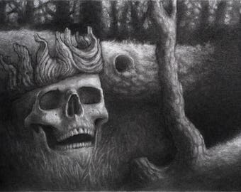Lich's Glade original graphite and charcoal drawing