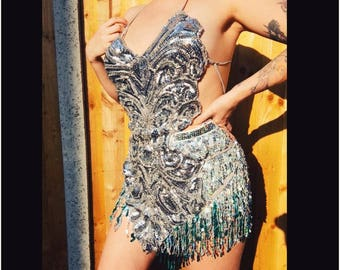 Fully embellished showgirl / festival / carnival sequin body harness / leotard / body suit