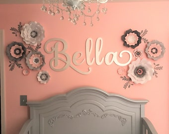 Large white paper flowers wall decor. Giant nursery paper flowers pink. Gray flowers wall nursery. Nursery paper flowers wall.