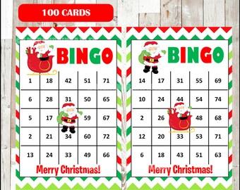 Printable 100 Santa Bingo Cards, printable Christmas Bingo game, Christmas printable bingo cards, instant download