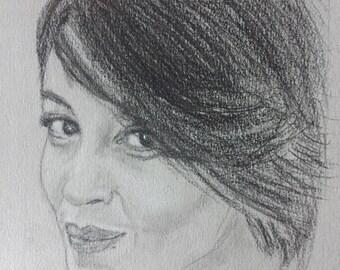 Portrait of Leila Bekthi, Derwent on paper, 20x32cm, 2017