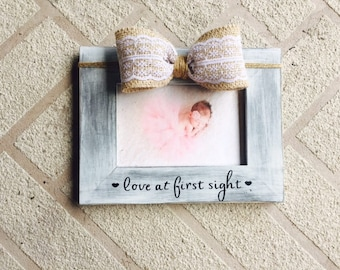 Love at first sight baby Pregnancy Announcement Nursery frame