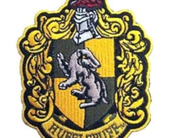 """FREE SHIPPING-Domestic-InspireMeByAudrey Harry Potter Hufflepuff House Crest Embroidered Sew/Iron-on Patch/Applique 4.5""""x3.5"""""""