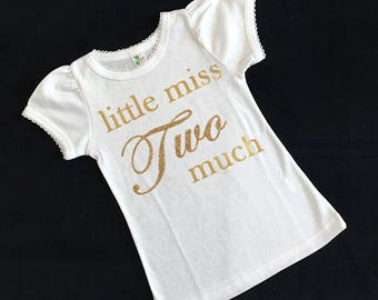 little miss two much girl birthday shirt - 2nd birthday girl shirt - 2nd birthday girl  - girl long sleeve 2nd birthday shirt - girls second