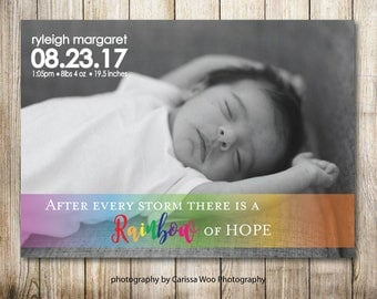 Birth Announcement - Rainbow Baby Simple - Digital