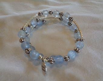 Pale Blue and Silver Memory Wire Bracelet