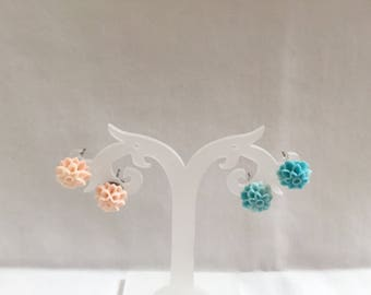 Pink and blue dahlia stud earrings