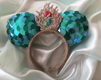 Little Mermaid Inspired Mickey Ears Headband