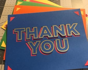 5 pack of Thank You  cards and envelopes.