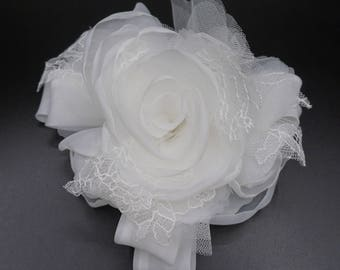 Organza and lace, ivory fabric flower brooch. For wedding dress.