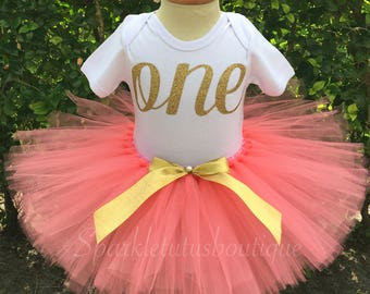 Peach and Gold birthday tutu set, girls tutu, birthday tutu, Peach tutu, gold glitter shirt, glitter vinyl shirt, any age