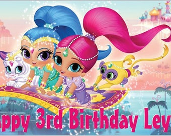 Custom Vinyl Shimmer and Shine Birthday Party Banner Decorations with Child's Name