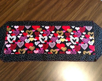 Hearts of Valentines Day Reversible Table Runner