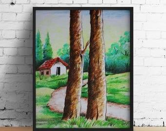 Oil pastel painting landscape