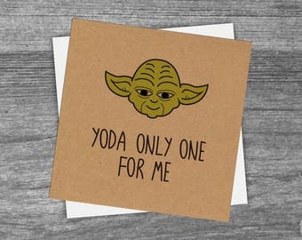 Star Wars Inspired 'Yoda Only One For Me' Greetings Card