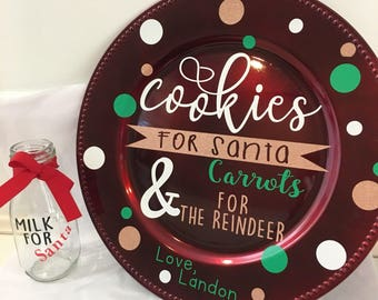 Santa Plate and Milk Glass Set