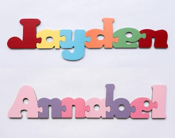 Personalised Children's Name Educational Wooden Name Jigsaw Puzzle - Boys and Girls Names. Stocking filler gift for young kids