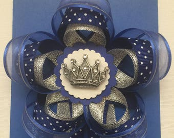 Blue and Silver BabyShower Corsage