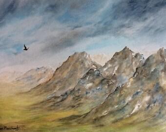 Flying free, original watercolour artwork