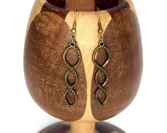 Life brass earrings, earrings have bronze DNA infinity