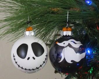 Jack Skellington and Zero Ornament, Jack Skellington and Zero Halloween Ornament, Nightmare Before Christmas Ornament