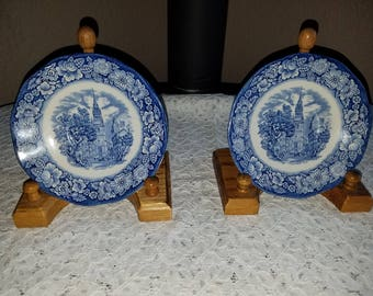 2 Liberty Blue Old North Church Plates