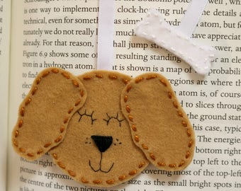 Dog bookmark / Unique bookmark / Puppy bookmark / Pet lover gifts / Book gifts / Felt bookmark