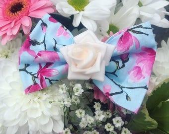 hair bow, floral hair bow, mullberry flower, hair clip, blue floral hair bow, fabric hair bow