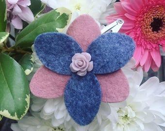 Flower hair clip, felt hair clips, girls hair clip, baby hair clip, pink flower hair clip