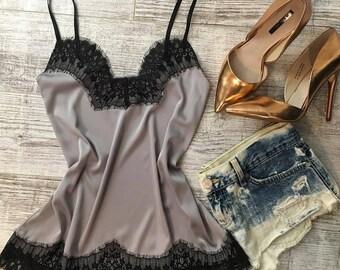 silk camisole, Emerald Silk pajamas for magic dreams [pyjama, sleepwear, lingerie, Robes, Nightgowns,Sleep sets, Sleep Shorts & Bottoms