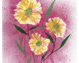 Gold Flowers on Red Print