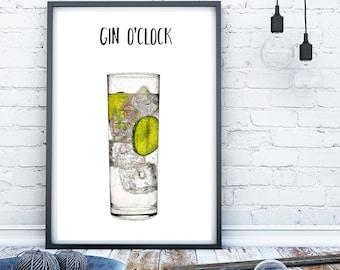 Gin print, Kitchen print, Kitchen sign, Gin lover gift, alcohol print, bar art, bar print, funny alcohol print gin wall art alcohol wall art