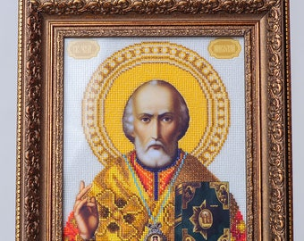 """Picture embroidered beaded """"SV. Nicholas The Wonderworker """". Handmade."""