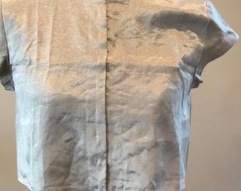 Anavila silver metallic sari blouse