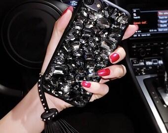 Apple iPhone 6 / 6 Plus / 6s / 6s Plus / 7 / 7 Plus - Bling Bling Rhinestones with Twinkle Tassel Soft Phone Case