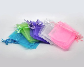 Set of 3 small purple organza bag