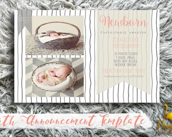 Birth Announcement Template - Simple & Delicate - for Photographers PSD frame