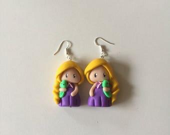 Earring Princess Rapunzel chibi disney Fimo