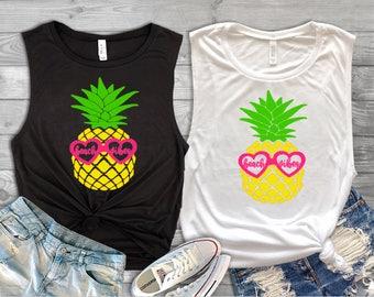 Beach Vibes Pineapple Tank//Pineapple Tank//Beach Shirt//Tank for Her//Vacation Tank