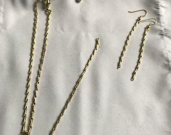 Long Gold Choker with Matching Earrings