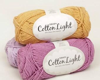 DROPS Cotton Light Yarn / Cotton Yarn / Summer Cotton Yarn / Hand Knit Yarn / Crochet Yarn / Oeko-Tex® certificate Yarn / Yarn 50 g - 1.8 oz