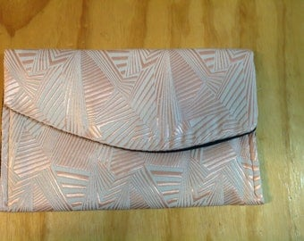 Pink and White Metallic Clutch