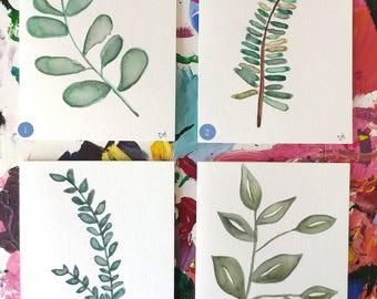 Hand Painted Watercolor Foliage Cards / Prints
