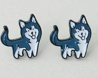 Husky enamel pierced stud earrings.
