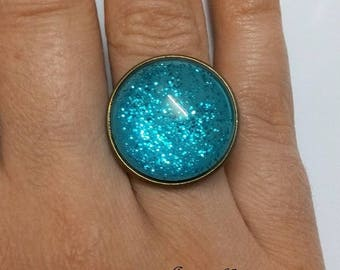 glittery silver Adjustable ring