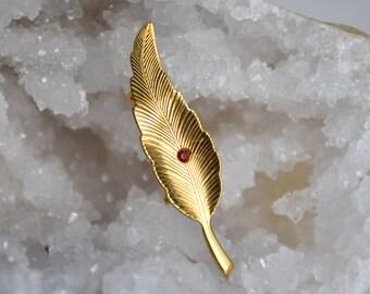Gold Leaf with Red Rhinestone